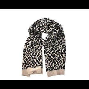 Kate Spade Leopard Jacquard Scarf with Bow